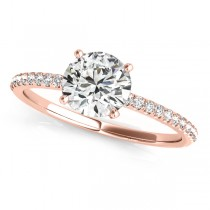 Diamond Accented Round Engagement Ring 14k Rose Gold (0.62ct)