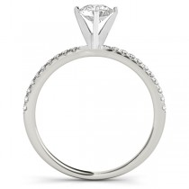 Diamond Accented Round Engagement Ring 18k White Gold (0.62ct)