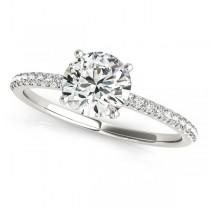 Diamond Accented Round Engagement Ring Palladium (0.62ct)