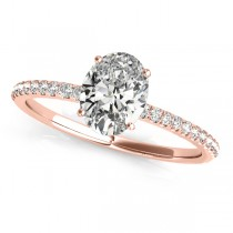 Diamond Accented Oval Shape Engagement Ring 14k Rose Gold (0.75ct)