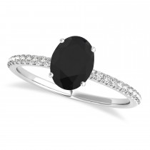 Black & White Diamond Accented Oval Shape Engagement Ring 14k White Gold (0.75ct)