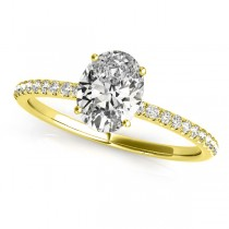 Diamond Accented Oval Shape Engagement Ring 14k Yellow Gold (0.75ct)