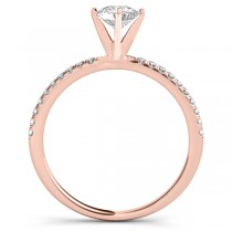 Diamond Accented Oval Shape Engagement Ring 18k Rose Gold (0.75ct)