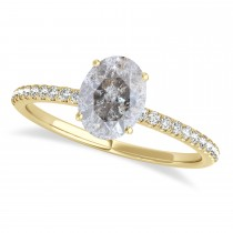 Oval Salt & Pepper Diamond Accented Engagement Ring 18k Yellow Gold (0.75ct)