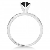Black & White Diamond Accented Oval Shape Engagement Ring 14k White Gold (1.00ct)