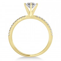Oval Salt & Pepper Diamond Accented  Engagement Ring 14k Yellow Gold (1.00ct)