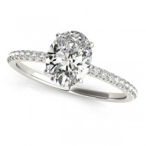 Diamond Accented Oval Shape Engagement Ring 18k White Gold (1.00ct)