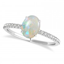 Opal & Diamond Accented Oval Shape Engagement Ring Palladium (1.00ct)