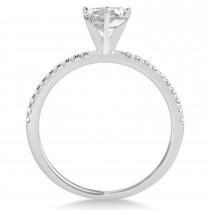 Diamond Accented Oval Shape Engagement Ring Palladium (1.00ct)
