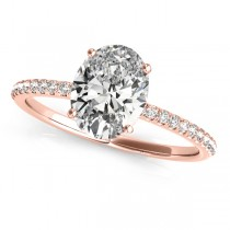 Diamond Accented Oval Shape Engagement Ring 14k Rose Gold (1.50ct)
