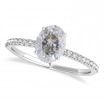 Oval Salt & Pepper Diamond Accented  Engagement Ring Palladium (1.50ct)