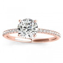 Diamond Accented Engagement Ring Setting 18k Rose Gold (0.12ct)