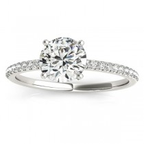 Diamond Accented Round Engagement Ring 18k White Gold (0.12ct)