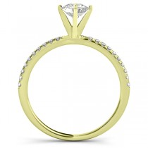 Diamond Accented Engagement Ring Setting 18k Yellow Gold (0.12ct)