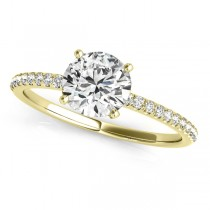 Diamond Accented Round Engagement Ring 18k Yellow Gold (2.12ct)