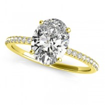 Diamond Accented Oval Shape Engagement Ring 14k Yellow Gold (2.00ct)