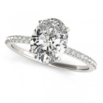 Diamond Accented Oval Shape Engagement Ring Palladium (2.00ct)
