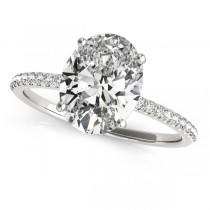 Diamond Accented Oval Shape Engagement Ring 14k White Gold (2.50ct)