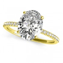 Diamond Accented Oval Shape Engagement Ring 14k Yellow Gold (2.50ct)