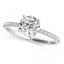 Diamond Accented Round Engagement Ring 14k White Gold (3.12ct)