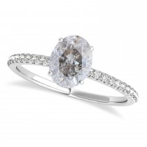Oval Salt & Pepper Diamond Accented  Engagement Ring 14k White Gold (3.00ct)