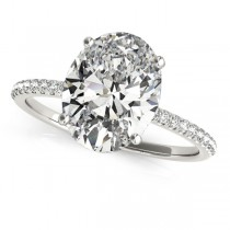Diamond Accented Oval Shape Engagement Ring 14k White Gold (3.00ct)