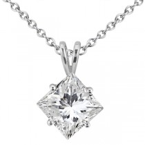 1.00ct. Princess Diamond Solitaire Pendant 14K White Gold (J-K, I1-I2)