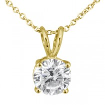 0.33ct. Round Diamond Solitaire Pendant in 18k Yellow Gold (H, VS2)
