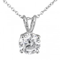 0.50ct. Round Diamond Solitaire Pendant in 18k White Gold (H, VS2)