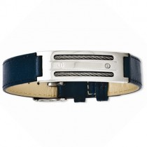 Men's Stainless Steel Blue Genuine Leather Adjustable Buckle Bracelet