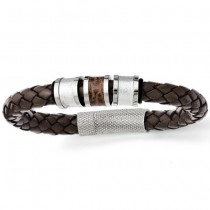 Men's Stainless Steel Polished Brown Leather Black Rubber Bracelet