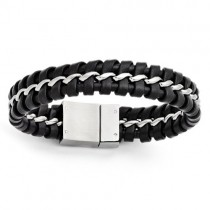 Men's Stainless Steel Black Genuine Leather Brushed Bracelet