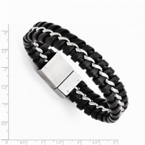 Men's Stainless Steel Black Genuine Leather Brushed Bracelet