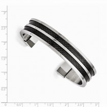 Men's Stainless Steel Black Carbon Fiber Polished Cuff Bangle