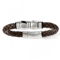 Men's Braided Stainless Steel Brushed Brown Genuine Leather Bracelet