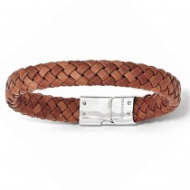 Men's Woven Brown Genuine Leather Stainless Steel Bracelet