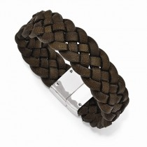 Men's Brown Genuine Leather Woven Braided Stainless Steel Bracelet