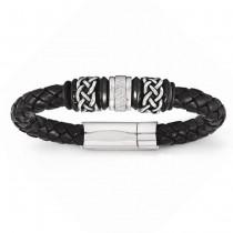 Men's Antiqued & Polished Braided Genuine Leather Bracelet