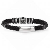 Men's Antiqued & Polished Rubbert Black Genuine Leather Bracelet