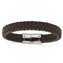 Men's Braided Brown Genuine Leather Bracelet Stainless Steel