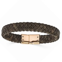 Men's Braided Brown Genuine Leather Rose Stainless Steel Bracelet