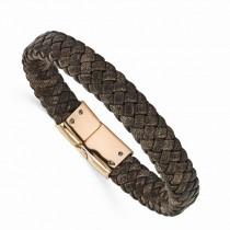 Men's Braided Brown Genuine Leather Rose Stainless Steel Bracelet