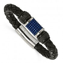 Men's Black Genuine Leather Bracelet w/ Blue Stainless Steel