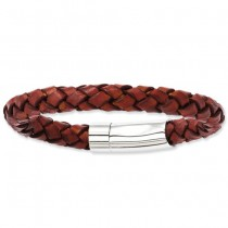Men's Brown Genuine Leather & Stainless Steel Fashion Bracelet