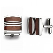 Wood Cuff Links Plain Metal Stainless Steel