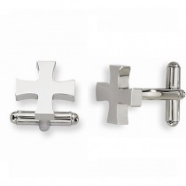 Polished Cross Cuff Links Plain Metal Stainless Steel