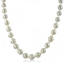 White Baroque South Sea Cultured Pearl Strand 14K W. Gold 9-11mm