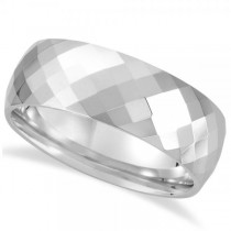 Men's Diamond-Cut Faceted Wedding Ring Band in White Tungsten (8.0mm)