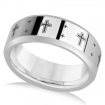 Men's Beveled Wedding Band with Black Laser Crosses in Tungsten 8.3mm