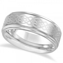 Men's Ridged Wedding Ring Band with Grey Laser in Tungsten (8.3mm)